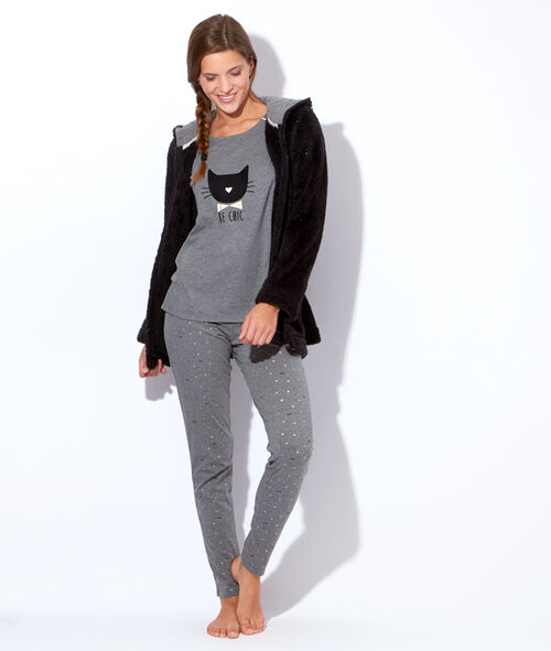Pyjama 3 pieces, veste polaire, pantalon noeuds, top chat