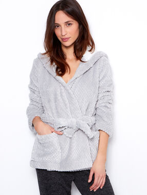 Veste doudou fourrée gris.