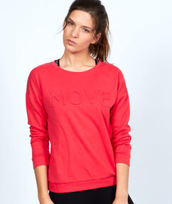 Coton sweater with message coral.
