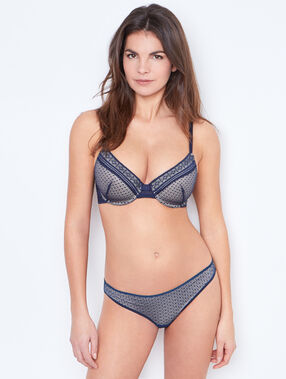 Padded demi cup bra, d cup blue.