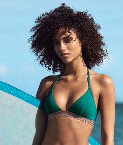 Sujetador bikini triangular banda multicolor verde.