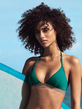 Haut de maillot de bain triangle, avec détail élastique multicolore vert.