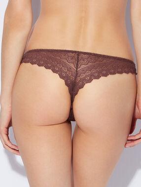 Lace tanga brown.