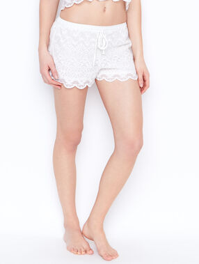 Lace pyjama shorts white.
