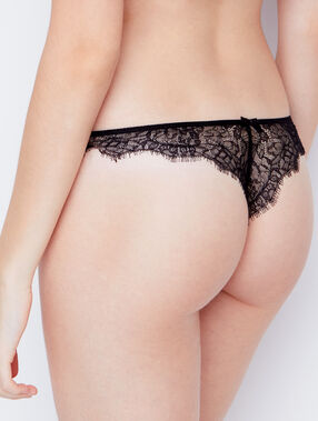 Lace and satin tanga black.