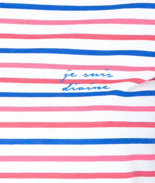 """Je suis divine"" striped pyjama top;${refinementColor}"