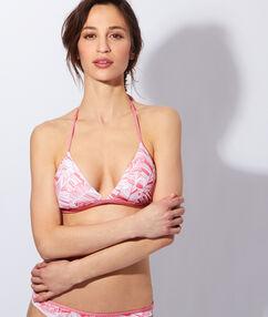 Haut de maillot de bain triangle imprimé sans armatures, pad amovible rose.