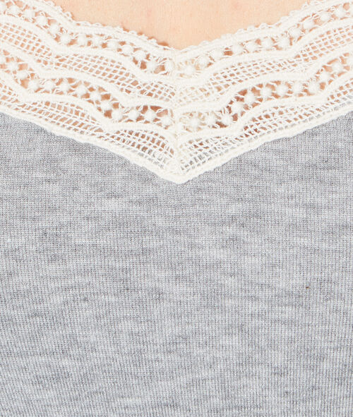 Pyjama tank top with lace;${refinementColor}
