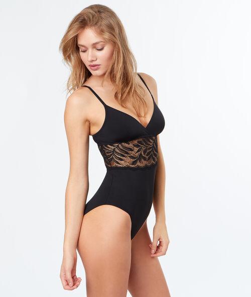 Micro and lace bodysuit;${refinementColor}