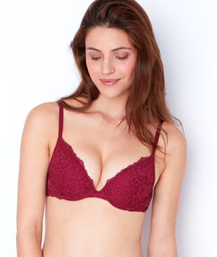 Magic up® plongeant dentelle florale bordeaux.