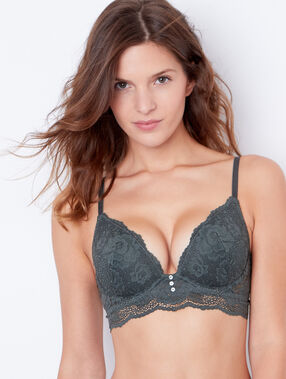 Lace push up bra khaki.