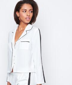 Chemise de pyjama contrastée blanc.