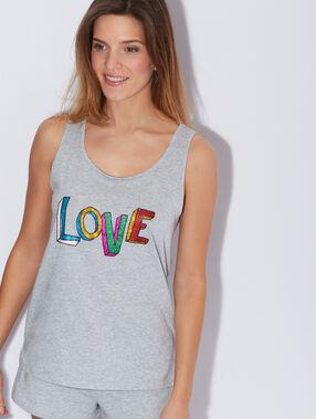 """Débardeur en coton mélangé, imprimé """"love"""" en paillettes gris."""