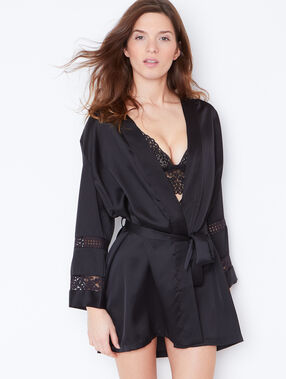 Lace negligee black.