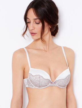 Lace and satin padded demi cup bra white / brown.