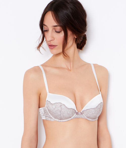 Lace and satin padded demi cup bra