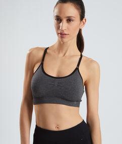 Sport bra, crossover straps grey.