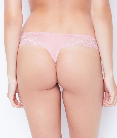 MICROFIBER AND LACE TANGA;${refinementColor}