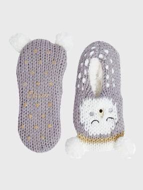 Chaussettes tricot doublées et antidérapantes gris.