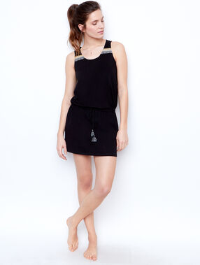 Embroided nightdress black.