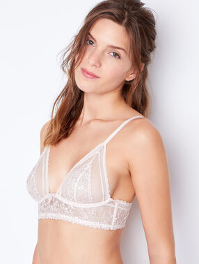 Lace triangle bra beige.