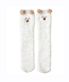 Chaussettes de maison ourson blanc.