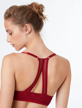 Padded demi cup bra red.