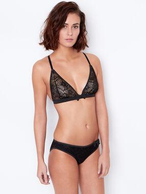 Triangle sans armatures dentelle florale, dos nageur noir.
