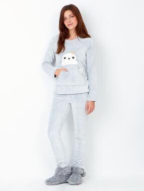Pyjama 2 pièces gris clair.