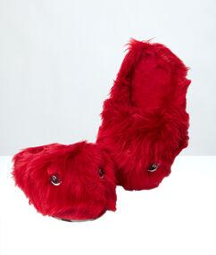 Mules 3d fausse fourrure rouge.