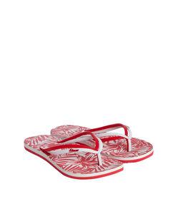 Tongs imprimées tropical rouge/blanc.
