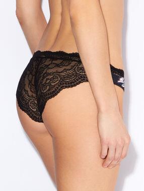 Culotte micro imprimée, dos dentelle florale noir.