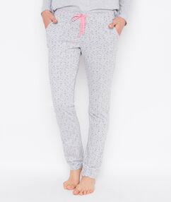 Pantalon coton imprimé gris clair.