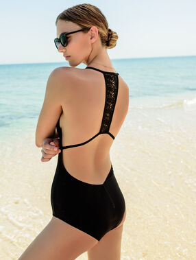 Einteiliger badeanzug schwarz.