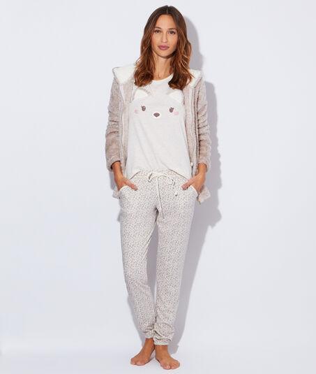 Pyjama 3 pièces imprimé renard, veste polaire