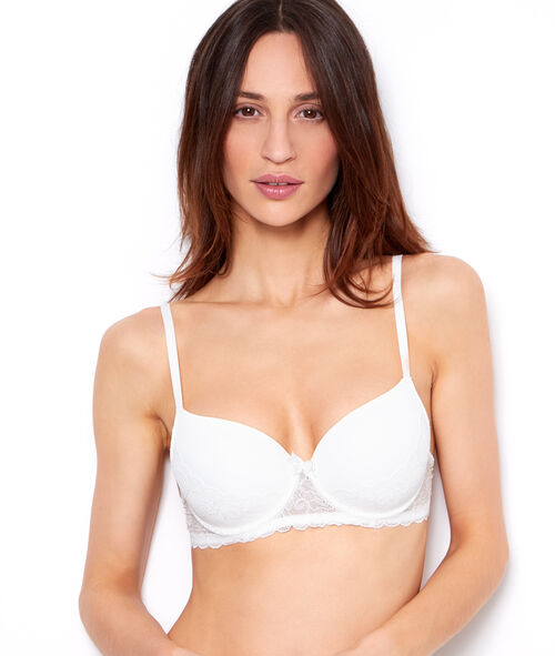 Micro and lace padded demi cup bra;${refinementColor}