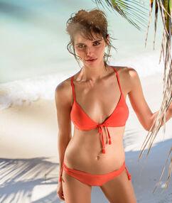 Haut de maillot de bain triangle sans armature orange.