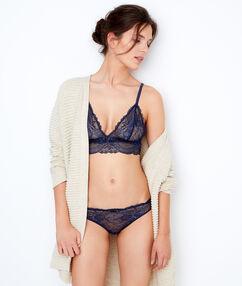 Lace wireless triangle bra navy blue.
