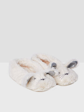 Chaussettes de maison lapin ecru.