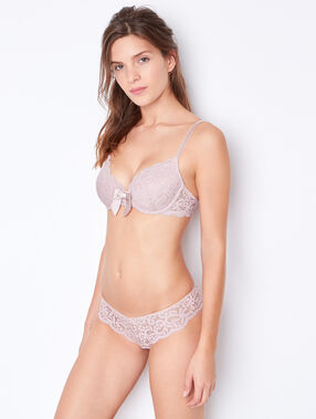 Lace padded demi cup pink.