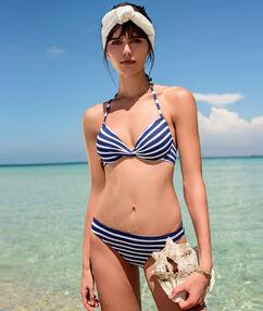 Sujetador bikini con foam rayas marineras. copa b-d estampado azul marino.