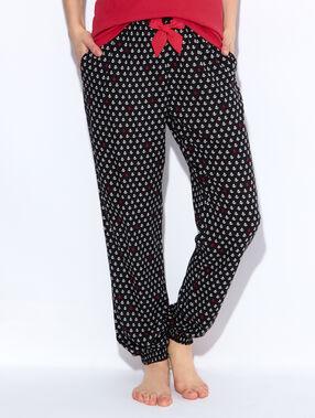 Pantalon imprimé ancres, détail noeud noir.
