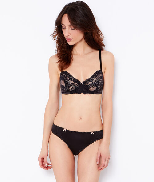 Lace and satin demi cup bra;${refinementColor}