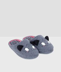 Cat slippers grey.