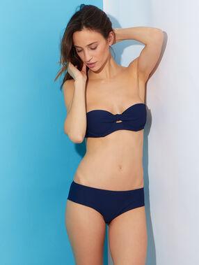 Haut de maillot de bain bandeau façon bustier matière gaufrée coques préformées bleu marine.