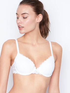 Soft bra: lace padded demi cup white.