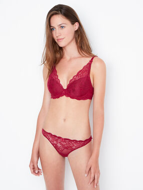 Triangle ampliforme dentelle florale, bonnet d bordeaux grenat.
