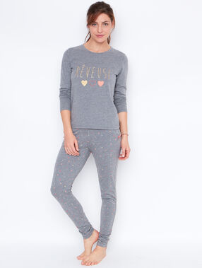 Printed pyjama top grey.