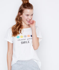 Camiseta mensaje smiley blanco.
