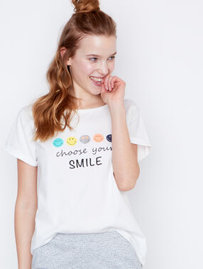 T-shirt message smiley blanc.